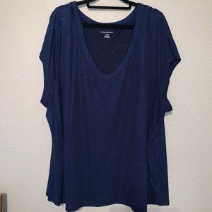 Plus size 26/28Lane Bryant blue linen sparkly top